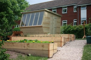 School Potting Shed & Planters