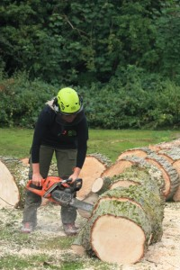 Frankie using chainsaw